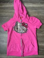 Girls Hello Kitty Sparkly Hooded Zip Up Short Sleeve Jacket Size 8 B27
