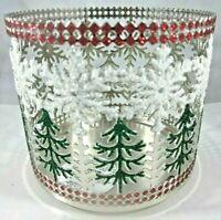 Bath & Body Works 14.5 oz 3-wick Candle Holder Glitter Snowflake Christmas Tree
