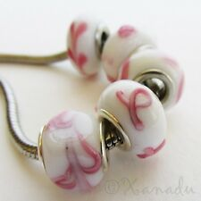 5PCs Breast Cancer Awareness Pink Ribbon Beads Set For European Charm Bracelet