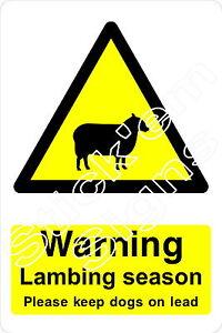Warning Lambing season - Keep dogs on lead - COUN1010 stickers & signs