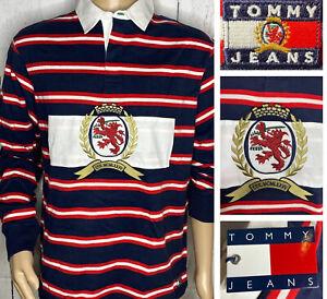 Tommy Hilfiger capsule Shirt Jeans Rugby Polo Big Crest Logo Striped 90s Men M L