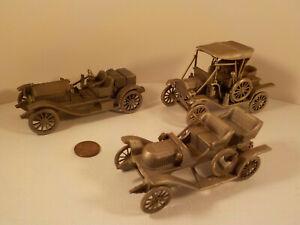 """3 original-vintage (Danbury Mint) Pewter """"MODEL-T, STUTZ & STANLEY"""" Car Replicas"""