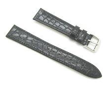 18mm Quality Genuine Leather Thin Croco Grain Black Watch Band