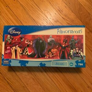 "Vtg Disney Panoramas Villains 750 piece Jigsaw Puzzle 11""x36"""
