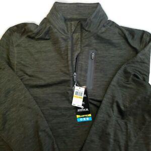 PGA Tour Mens 360 Zip Stretch MotionFlux Golf Shirt Jacket Dark Olive Heather
