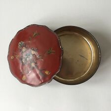 Vintage Toleware Hand Painted Flowers Large Metal Tin Round Box Made In Holland