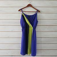 Mossimo Womens Size Medium Summer Dress Colorblocked Neon Blue Green