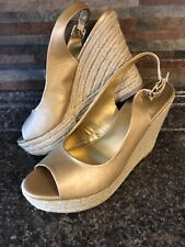154aa27284 New Target Mossimo Platform Wedge Sandals 8 Slip-On Peep Toe Gold