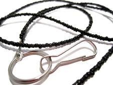 Black Beaded Id Lanyard, Black Id Badge Holder, Black Lanyard, Black Id Necklace