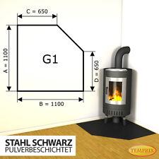 Kaminbodenplatte ✔ Funkenschutz Ofenplatte ✔ Kaminofenplatte Stahl schwarz G1