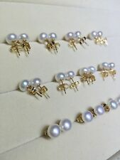 wholesale 10 pc  10-11MM HUGE SOUTH SEA GENUINE PERFECT WHITE PEARL EARRING 14K