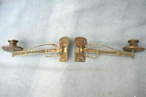 Antique Pair Edwardian Gilt Brass Piano Candle Holders sconces Articulated 1900s