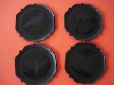 HALLOWEEN PARTY APPETIZER PLATES SKULL SPIDER BAT CROW SET 4 NEW