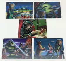 2012 Topps Heritage MARS ATTACKS 50th Complete 5 Card 3D Lenticular Motion Set
