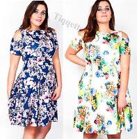 Plus Size Cut Out Shoulder Floral Print Dress Size 16 - 26