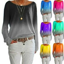 Frauen Beiläufig Gradient Lose Fit T-Shirt Damen Langarm Tunika Tops Bluse