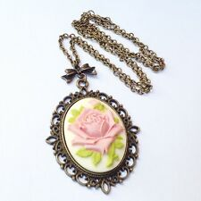Pink rose cameo Pendant necklace Vintage style jewelry Romantic flower jewellery