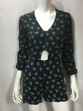 Romper M Long Sleeve  Reformed Shorts Blue Floral Peek A Boo On Chest Low Back