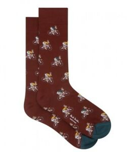 NEW PAUL SMITH RABBIT ON A BICYCLE SOCKS MENS Burgundy ONE SIZE