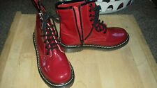 red patent leather side zip boots size 4.never worn.New condition.  Faux leather
