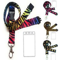 Lanyard Neck Strap +Waterproof Vertical Plastic ID Card Badge Holder with Zipper