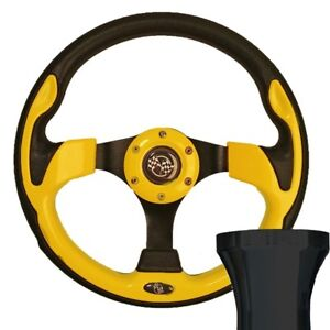 "EZGO 1994-up TXT/RXV 12.5"" Rally Style Yellow Steering Wheel W/BLACK ADAPTER"