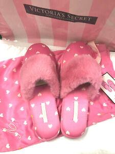 Victoria's Secret Signature Satin Slippers Pink Heart NWT