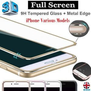 3D Metal Edge Full Coverage Ultra Clear Tempered Glass Screen Protector iPhone