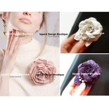 Tweed Camellia Flower Pin brooch Luxury Elegant Multi color Royal Rhinestone