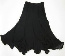 NWT! Vintage Lillie Rubin Size 6 Black 100% Silk Solid Novelty Long Skirt