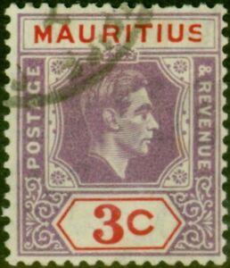 Mauritius 1938 3c Reddish Purple & Scarlet SG253a 'Sliced S' at Right V.F.U
