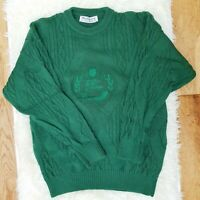 """Vintage Burberry's Of London Green Burberry Cable Knit Jumper Sweater Sz M 40"""""""
