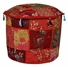 "18"" Indian Handmade Round Pouf Cover Vintage Cotton Ottoman Patchwork Footstool"