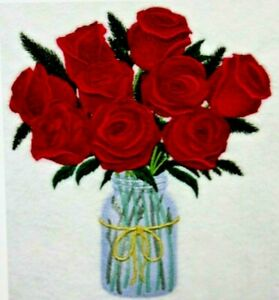 Red Roses in a Mason Jar Floral Bathroom Hand Towels EMBROIDERED SET Stunning
