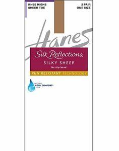 Hanes Silky Sheer Knee Highs Silk Reflections Lasting Sheer Toe run-resistant