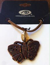 NEW Unique PrettyCool.com Necklace Pendant Wood Like Butterfly Leather Neck Cord