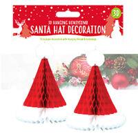 2 x Paper 3D Santa Hat Hanging Wall Decoration Christmas Party 30cm Xmas Decor