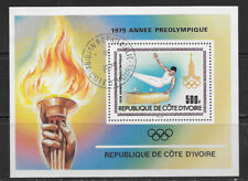 IVORY COAST ,1979 , PRE-OLYMPIC YEAR , SOUVENIR SHEET , PERF ,USED/CTO , CV$2.50