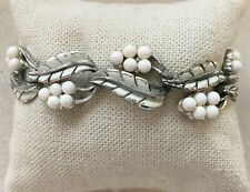 Vintage Coro Grapes Bracelet White & Silver-Tone Leaf Link Safety 7.25""