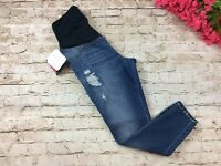 Isabel Maternity Jeans 8 Skinny Jegging Distressed Crossover Panel Stretch New