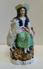 ZD-g ANTIQUE ENGLISH STAFFORDSHIRE POTTERY GIRL WITH LAMB, coleslaw 7 1/2""
