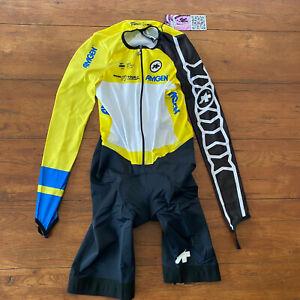Assos Mens XL Pro Amgen Leader Cycling Skinsuit Speedsuit Racesuit Yellow