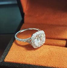 18K WG 2.03 Ct Round Cut Diamond Halo Baby Split Shank Engagement Ring F,VS2 GIA