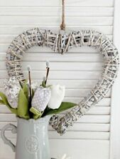 Large 41cm Willow Heart Wreath White Shabby Rustic Wall Hanging Home Decoration