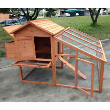 """74"""" PREMIUM Chicken Coop Hen house Chook Hutch Cage w Nesting and Run"""