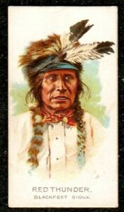 1888 ALLEN & GINTER CELEBRATED AMERICAN INDIAN CHIEFS CIGARETTE CARD RED THUNDER