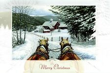 16 Embossed Boxed Christmas Cards Jingle All The Way Horses and Farm