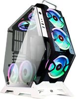 Gaming PC Case Mid Tower Open Computer Tempered Glass 7Pcs RGB Fans USB 3.0 RC
