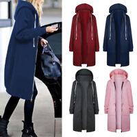 Women Zipper Hoodies Sweatshirt Ladies Casual Loose Long Coat Jacket Top Outwear
