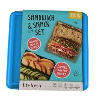 Sandwich & Snack Set Divided Tray Ice Pack 4 Piece Lunch Box Blue Fit + Fresh